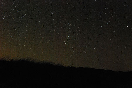 Sternbild Orion hinter der Düne