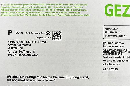 Armin Gerhardts Webdesign soll GEZ zahlen