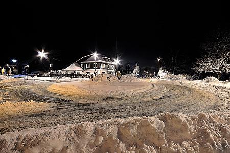 Kreisverkehr Radevormwald Bergerhof im Schnee